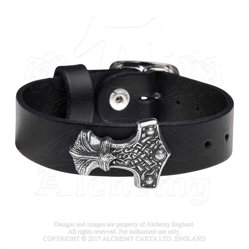 Alchemy Gothic Winig Thunderhammer - Leather bracelet