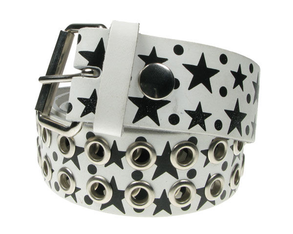 Bullet69 - Belt, White with star pattern
